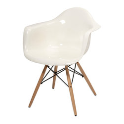 Arturo White Acrylic Chair w/ Wood Leg - Featuring a modern and funky design concept, this trend-setting stylish chair incorporates a cutting edge opaque white acrylic design with wood legs that transitions well in a variety of dcor.