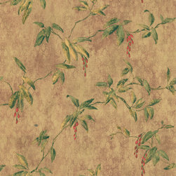 Brewster - Brewster Brown Berry Vine Wallpaper - Lush red berries hang from trailing green vines beyond a textured brown backdrop in this sophisticated botanical wallpaper. This wallpaper highlights a solid sheet vinyl construction that adds depth and character.