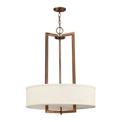 Hinkley Lighting - Hampton Pendant 3-Light Chandelier - Hampton is a modern transitional design, offering the ultimate in urban sophistication. The minimal, rectangular frame, paired with a decorative acrylic etched bottom lens, is softened by a contemporary off-white linen drum shade.