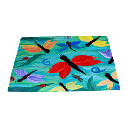 xmarc - Garden Area Plush Area Rugs From Original Art, Lady Bug And Dragonflies, 48 X 30 - Dragonfly and lady bugs area plush area rugs from original art. Tree frogs, dragonflies, flowers, lady bug, butterflies.
