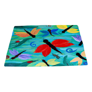 xmarc - Garden Area Plush Area Rugs From Original Art, Lady Bug And Dragonflies, 96 X 48 - Dragonfly and lady bug garden area plush area rugs from original art. Tree frogs, dragonflies, flowers, lady bug, butterflies.