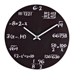 Modway - Quiz Wall Clock in Black - Test your knowledge when telling time. With analytical mathematical equations at each number space, this clock keeps your math skills sharp. Black powder coated metal is made to look like a chalkboard with each math equation written in white chalk. The perfect gift for your favorite braniac.