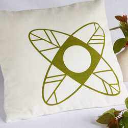 Mod Petal Pillow Cover - High contrast and minimalist lines make this raw cotton pillow cover a standout. A single geometric flower is screen-printed in a deep sage green that gives it real pop against the soft, natural-tone of the fabric.