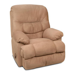 Chelsea Home Furniture - Chelsea Home Recliner in Padded Saddle - Fabric Swatch Fabric Swatches Available by Mail, Cover Choices Padded Saddle, Seating Comfort Medium, Frame Construction Hardwood, softwood and engineered wood products, Spring System Leggett  Platt Sinuous Springs, Cushion Composition Dacron Wrapped 18 Density foam Cushion, Fabric Suede Microfiber, Recliner 1