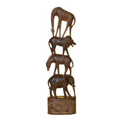 BZBZ44645 - In Jungle Stack /4 Giraffe Lion Zebra Elephant Statues Sculpture - In Jungle Stack /4 Giraffe Lion Zebra Elephant Statues sculpture. Animal Statues are hand carved in wood in brown and on solid wood base. Great for home or indoor decor for safari theme.