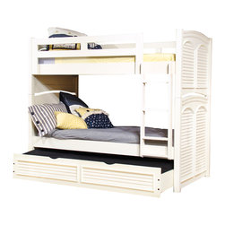 American Woodcrafters - American Cottage Traditions Twin Over Twin Bunk Bed in Eggshell White - The Cottage Traditions collection is a gorgeous example of cottage style with simplicity in design mixed with elegance. This collection includes beds - poster, panel, sleigh and bunk - in a variety of sizes twin, full, queen, and king. Also includes dressers, mirrors, night stands, and entertainment consoles. The following are part of the collection but not shown chests, armoire, computer desk, and computer chair. This collection is made from solid pine with pine veneers and features solid wood hardware knobs in matching finish, bun feet, signature arched louvered inserts in the beds, mirrors and doors. Available in either an eggshell white or sandstone finish.