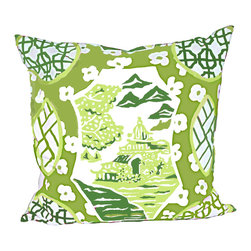 "Canton in Green 22"" Pillow - Printed Cotton, 10/90 Down Insert"