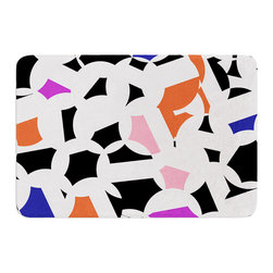 "KESS InHouse - Gabriela Fuente ""Geo Fun"" White Multicolor Memory Foam Bath Mat (24"" x 36"") - These super absorbent bath mats will add comfort and style to your bathroom. These memory foam mats will feel like you are in a spa every time you step out of the shower. Available in two sizes, 17"" x 24"" and 24"" x 36"", with a .5"" thickness and non skid backing, these will fit every style of bathroom. Add comfort like never before in front of your vanity, sink, bathtub, shower or even laundry room. Machine wash cold, gentle cycle, tumble dry low or lay flat to dry. Printed on single side."