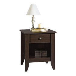 Sauder - Sauder Shoal Creek Night Stand in Jamocha Wood - Sauder - Nightstands - 409942 - Contemporary meets rustic in this nightstand from the Sauder Shoal Creek collection.  Drawers feature metal runners and safety stops allowing you to use this in even the busiest of households.  With one storage cubby and one drawer this nightstand is as functional as it is beautiful.  Featuring metal drawer runners and safety stops this nightstand will hold up to even the busiest of households.  As an added bonus assembly is quick and easy with the patented T-slot assembly system.  Finished in a beautiful Jamocha Wood there is no doubt that this nightstand will be a staple in your child's bedroom master bedroom or guest room for years to come.Features:
