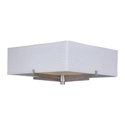 ET2 - ET2 E95340-100SN Elements Transitional Flush Mount Ceiling Light - The Elements collection offers the freedom of choice in lighting design. Start with the style selection - pendant, mini pendant, or wall sconce - then choose the right shape, square or circular, for the space. Wrap the selected Oil Rubbed Bronze or Satin Nickel lamp in one of five color options that will make just the right statement: Grass Cloth, White Weave, White Pleat, Crimson or Satin White.  Finally, choose the perfect light source for the task. Whether fluorescent, xenon, or incandescent, this collection brings together all the right elements.