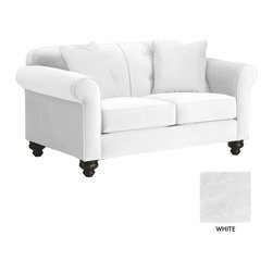 Apt2B - Pico Tufted Back Apt Size Sofa, White - The Pico Collection has something that's hard to find: classic elegance that works perfectly in a modern setting. Between the unique stitching, tufted accents of the back cushion, and old school legs, this collection gives new school flavor to a well known look.