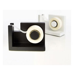 Stick & Pull Tape Dispenser - With so many people to see and things to do, your hands are often tied at work. Save time and grab a few pieces of tape with just one hand with this Stick & Pull Tape Dispenser, which has an adhesive bottom that sticks to the desk so busy bees can grab tape singlehandedly with ease. Choose from black or white.