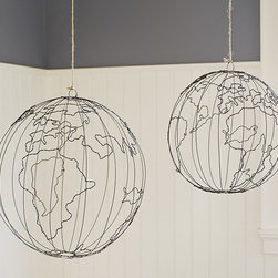 Wire Hanging Globe - These wire globes are amazing! How fun would they be hanging in a boy's room?