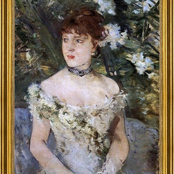"Berthe Morisot-18""x24"" Framed Canvas - 18"" x 24"" Berthe Morisot Young Woman Dressed for the Ball framed premium canvas print reproduced to meet museum quality standards. Our museum quality canvas prints are produced using high-precision print technology for a more accurate reproduction printed on high quality canvas with fade-resistant, archival inks. Our progressive business model allows us to offer works of art to you at the best wholesale pricing, significantly less than art gallery prices, affordable to all. This artwork is hand stretched onto wooden stretcher bars, then mounted into our 3"" wide gold finish frame with black panel by one of our expert framers. Our framed canvas print comes with hardware, ready to hang on your wall.  We present a comprehensive collection of exceptional canvas art reproductions by Berthe Morisot."
