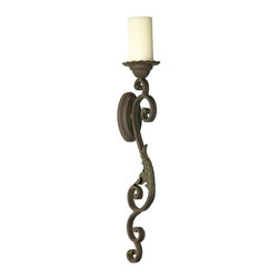 Cyan Design - Cyan Design Valencia Wall Candle Holder X-27040 - From the Valencia Collection, this Cyan Design wall candle holder features a classic torch frame. This traditional wall sconce features large scrolling details, with acanthus leaf accents and classic iron construction. Bronze finishing pulls the design together.