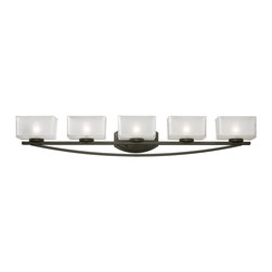 Z-Lite - Z-Lite Cardine Bathroom Light X-V5-6003 - A set of five vanity lights displayed in square cube glass shades frosted white inside and clear outside, with a bronze finish for a fresh and modern look.