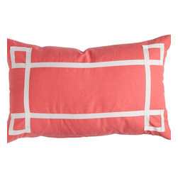 Coral Signature Pillow - Fretwork detail is everything in decor right now and this orange throw pillow gives you the look for less!