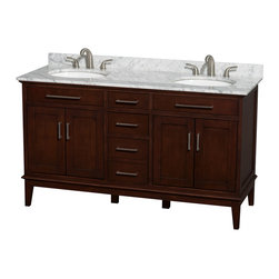 "Wyndham Collection - Hatton 60"" Dark Chestnut Double Vanity w/ White Carrera Marble Top & Oval Sink - Bring a feeling of texture and depth to your bath with the gorgeous Hatton vanity series - hand finished in warm shades of Dark or Light Chestnut, with brushed chrome or optional antique bronze accents. A contemporary classic for the most discerning of customers. Available in multiple sizes and finishes."