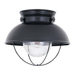 Sea Gull Lighting - Sea Gull Lighting 8869 Sebring Outdoor Flush Mount - Sea Gull Lighting 8869-12 Sebring Black Outdoor Flush Mount