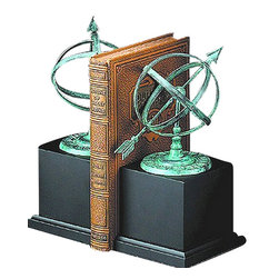 "Verdigris Brass Sundial Bookends w/ Wooden Base - The verdigris brass sundial bookends w/ wooden base measure 9""H. They feature exquisite verdigris brass sundials on wooden bases. They will add a definite nautical touch to whatever room they are placed in and are a must have for those who appreciate high quality nautical decor. They are heavy enough to support any size book. They make great gifts, impressive decorations and will be admired by all those who love the sea."
