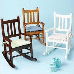 Kids Wooden Rocking Chairs - These rocking chairs couldn't be cuter. Your child will immediately be drawn to a rocker their size, and you will be happy about how well this piece integrates into a stylish bedroom or playroom. Available in chocolate, honey, and white. Add a cushion for extra comfort.