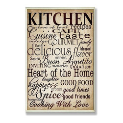 "Stupell Industries - ""Words in the Kitchen"" Off White Wall Plaque - Made in USA. Ready for Hanging. Hand Finished and Original Artwork. No Assembly Required. 15 in L x 0.5 in W x 10 in H (2 lbs.)What better way to add class to your home than with a wall plaque from the Stupell Home Decor Collection? Made in the USA and featuring original artwork,you are sure to find the perfect match for wherever you are looking to design. Each plaque comes mounted on sturdy half inch thick mdf and features hand painted edges.  It also comes with a sawtooth hanger on the back for instant use."