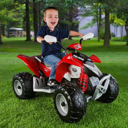Peg Perego - Peg Perego Polaris Outlaw ATV Battery Powered Riding Toy - Red - IGOR0044 - Shop for Tricycles and Riding Toys from Hayneedle.com! The kids around the block are sure to envy this roaring Peg-Perego Battery Powered Red Polaris Outlaw ATV. With two speeds 2.5 and 5 mph it will be both safe and exhilarating for any youngster seeking a thrill. A SmartPedal accelerator makes riding smoother batteries last longer and braking safer. This is one of the tougher riding toys Peg Perego offers geared for grass dirt and gravel. Appropriate for ages up to 3 years. About Peg PeregoAfter the birth of his infant son in 1949 Giuseppe Perego was unhappy with the minimal selection of juvenile products and decided to design his own baby carriage. His wife added beautiful functional fabrics and the overall aesthetics caught the attention of other parents in the Peregos' small Italian neighborhood. They were inundated with requests by neighbors for carriages of their own and Peg Perego was born. Before long the company was introducing high chairs strollers and other juvenile products. With each new product the family commitment to quality continued. Always thinking forward Peg Perego has never rested on past products or designs; it continues to stay current with parents' changing needs and new research that highlights the health and safety of infants and juveniles.