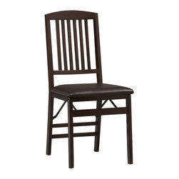 Linon - Triena Mission Back Folding Chair - Dimensions: 17 x 20 x 36 inches