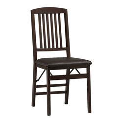 Linon - Triena Mission Back Folding Chair - Dimensions: 17 x 20 x 36 inches