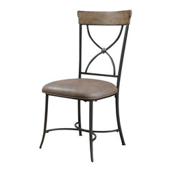 """Hillsdale Furniture - Hillsdale Charleston X-Back Dining Chair (Set of 2) in Desert Tan - Hillsdale's Charleston collection beautifully combines a rustic desert tan wood finish with a dark grey metal and offers a multitude of choices to create the perfect dining group for your home. Starting with the chairs, you have the choice of three lovely designs: The X-Back chair combines a rustic desert tan top accent with a transitional metal X in the center of the back and a brown faux leather seat. The parson's chair is traditional in design and combines the rustic desert tan finish with the brown faux leather seat. The ladder back chair features 3 rungs in the desert tan finish, enhanced by the dark grey metal and brown faux leather seat. Now that you have decided on your chair, let's look at the table options: The stunning rectangle table features a wood top that is generously scaled to easily accommodate 6. The simple round table features a 48"""" diameter wood top with flared metal legs. The round wood table is 48"""" in diameter and features a wonderful metal accent on the base."""