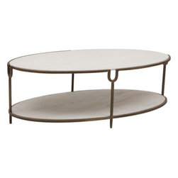 Iron And Stone Oval Coffee Table - A piece design with combine elements couldn't get any better. The white marble stone is done in an oval cut that allows you the have ample space for you every need. The rustic iron base is the perfect finishing touch for a classy look.