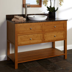 "48"" Taren Bamboo Vanity for Semi-Recessed Sink - This 48"" Taren Bamboo Cabinet features an option to add a stone countertop with matching backsplash and a semi-recessed porcelain sink."