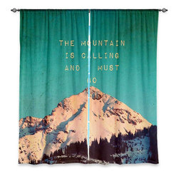 """DiaNoche Designs - Window Curtains Lined by Monika Strigel Mountain is Calling - DiaNoche Designs works with artists from around the world to print their stunning works to many unique home decor items.  Purchasing window curtains just got easier and better! Create a designer look to any of your living spaces with our decorative and unique """"Lined Window Curtains."""" Perfect for the living room, dining room or bedroom, these artistic curtains are an easy and inexpensive way to add color and style when decorating your home.  This is a woven poly material that filters outside light and creates a privacy barrier.  Each package includes two easy-to-hang, 3 inch diameter pole-pocket curtain panels.  The width listed is the total measurement of the two panels.  Curtain rod sold separately. Easy care, machine wash cold, tumble dry low, iron low if needed.  Printed in the USA."""