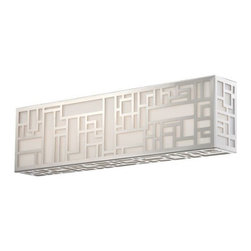 Modern Forms - Maze LED Bath Bar by Modern Forms - Inspired by the paintings of Piet Mondrian, the Modern Forms Maze LED Bath Bar is a worthy tribute to the Dutch artist. A laser cut grid of vertical and horizontal lines is snugly fit over a silk screened mitered glass shade, a sly and successful riff on Mondrian's iconic styling, minus the color. The energy-efficient LED box can be mounted vertically or horizontally and is available in three size options. WAC Lighting, founded in 1984, has developed a strong reputation for high quality decorative and task lighting. Based in Garden City, New York, WAC Lighting is a leading manufacturer of low voltage, line voltage and LED lighting, including track systems, transformers, lamps, cabinet lighting and recessed downlights.