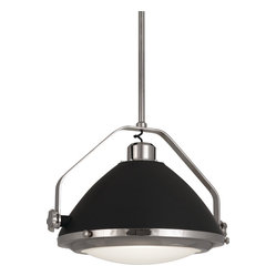 Robert Abbey - Apollo Pendant, Polished Nickel/Grey - If your dining room is more space age than spacious, you'll appreciate this ultra-contemporary take on a chandelier. Crafted of metal with charcoal-painted accents and a shade of frosted glass, this pendant will grace your table and wow your dinner guests.