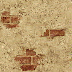 Blue Mountain - Plastered Exposed Brick Wallpaper - This is a popular brick pattern from the old The Albena Hristova's Trompe L'Oeil collection.  It is a non-textured faux wallpaper features exposed red brick that is covered with plaster around it. It has a definite  southern European feeling to it. Great for kitchens, or Tuscan/Mediterranean accent walls. **Please note that is paper only ships in double roll quantities. (Surface Illusions SF21701)
