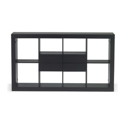 Zuri Furniture - Parker Espresso Wood Bookshelf - Horizontal - Exquisite geometric design and construction make the Parker contemporary bookcase a smart choice for neatly displaying books and decorative pieces. Its 4 large center drawers provide more than ample hidden storage space. The rich ebony oak espresso wood grain finish lends itself well to enhancing any modern living or office interior.