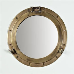Nautical Brass Porthole Mirror - This is the perfect accent for a boy's room with a nautical theme.
