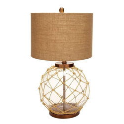 Benzara - Beautiful Modern Glass Metal Table Lamp with Lavish in Design - Extravagant in design, this glass metal table lamp is sure to add grandeur to your living space. This lavishly designed lamp has exquisite looks and complements large as well as small spaces. It will be a great accessory for your study room which besides lighting up the room, will add to the decor of your study room. The lamp features a metal base and stand. It also brandishes a peculiar knotted net around the stand. The table lamp has a beige colored shade which adds oomph and style to your space. It has neutral colors, and is designed to add a dash of color and sophistication to the ambience. You can place this table lamp in the bedroom or in the living area to add a sense of flamboyance to the space. The table lamp has elegant and classy appeal, which makes it a beautiful decorative accessory. It also makes a wonderful gifting option. Being sturdy in make, you can expect it to last for a long time..
