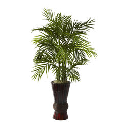 Nearly Natural - 4-foot Areca and Bamboo Planter - This darling tree will liven up any home or office with its breezy leafy fronds bursting from a beautiful bamboo planter. This areca plant is sure to please the eye and lend a relaxing tropical ambiance to any room where it resides.