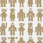 Aimee Wilder Big Robots Wallpaper, Sphinx, Metallic Gold - What kid doesn't like robots? These ones are so adorable and come in a lot of different colors. The beige colorway would keep the room more sophisticated, while still being insanely fun — robots!