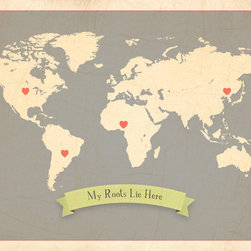 Rebecca Peragine Inc / Children Inspire Design - My Roots Personalized World Map in Grey 24x18 Wall Art Poster - Our new My Roots Collection - delightfully charming maps filled with deep meaning for little ones. Not only is the art beautiful for both big and small, but the collection tells a story of how families come together from all parts of the world. Our art shows a child where family roots lie, a place they are connected to, whether it's ten or ten thousand miles away.  Parent and child can customize their own art by using heart stickers to locate and highlight a child's roots. A teaching moment that will last throughout the years.