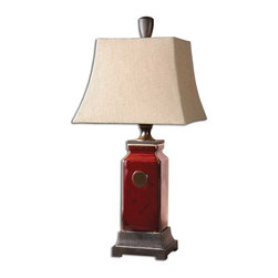 Uttermost - Reggie Red Table Lamp - Rich color and a stately, substantial presence make this porcelain table lamp such an asset to your traditional decor. A delightfully distressed glaze and touches of bronzed metal evoke a vibe of handsome sophistication.