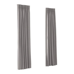Light Gray Structured Linen Custom Euro Pleat Drape Single Panel - Luxury meets functionality, tradition meets modernity in the Euro Pleated Drapery. Top-gathered pleats create a waterfall effect for an updated take on the classic pleat that's perfect for classic and modern rooms alike.  We love it in this light gray linen blend with a smooth, crisp basketweave texture.