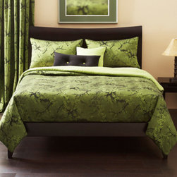 Siscovers - Cherry Blossom Clover Green Six Piece Queen Duvet Set - - Classic Ichibana design  - Set Includes: Duvet - 94x98, Two Queen Shams - 30x20, One Decorative Pillow - 16x16, One Decorative Pillow - 26x14  - Inserts: Polyester  - Duvet Material: 62% Rayon 32% Polyester  - Sham Material: 100% Polyester  - Pillow Material: 100% Polyester  - Workmanship and materials for the life of the product. SIScovers cannot be responsible for normal fabric wear, sun damage, or damage caused by misuse  - Reversible Duvet and Shams  - Care Instructions: Dry Clean Only  - Made in USA of Fabric made in China Siscovers - CBCL-XDUQN6