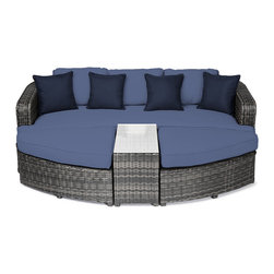 "Reef Rattan - Reef Rattan 4 Piece Day Bed Set - Grey Rattan / Ocean Blue Cushions - Reef Rattan 4 Piece Day Bed Set - Grey Rattan / Ocean Blue Cushions. This patio set is made from all-weather resin wicker and produced to fulfill your needs for high quality. The resin wicker in this patio set won't fade, shrink, lose its strength, or snap. UV resistant and water resistant, this patio set is durable and easy to maintain. A rust-free powder-coated aluminum frame provides strength to withstand years of use. Sunbrella fabrics on patio furniture lends you the sophistication of a five star hotel, right in your outdoor living space, featuring industry leading Sunbrella fabrics. Designed to reflect that ultra-chic look, and with superior resistance to the elements in a variety of climates, the series stands for comfort, class, and constancy. Recreating the poolside high end feel of an upmarket hotel for outdoor living in a residence or commercial space is easy with this patio furniture. After all, you want a set of patio furniture that's going to look great, and do so for the long-term. The canvas-like fabrics which are designed by Sunbrella utilize the latest synthetic fiber technology are engineered to resist stains and UV fading. This is patio furniture that is made to endure, along with the classic look they represent. When you're creating a comfortable and stylish outdoor room, you're looking for the best quality at a price that makes sense. Resin wicker looks like natural wicker but is made of synthetic polyethylene fiber. Resin wicker is durable & easy to maintain and resistant against the elements. UV Resistant Wicker. Welded aluminum frame is nearly in-destructible and rust free. Stain resistant sunbrella cushions are double-stitched for strength and are fully machine washable. Removable covers made with commercial grade zippers. Tables include tempered glass top. 5 year warranty on this product. Bench: W 85"" D 33"" H 25"", Ottoman (2): W 35.5"" D 33"" H 16"", Coffee Table: W 14"" D 33"" H 18"""