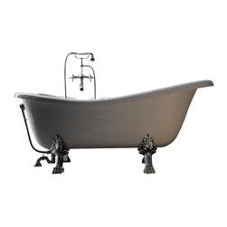 Modo Bath - Retro 1051 Glass Resin Bathtub In White with Metal Feet - Retro 1051 Glass-Resin Bathtub, White with Metal Feet, by WS Bath Collections