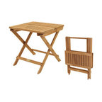"""Teak Semi-Folding 20"""" Picnic Table - Convenient and portable, solid teak side table.  Table folds after removing 2 screws from the top and fold flat.  Screws allow for a more solid table top position when in use."""