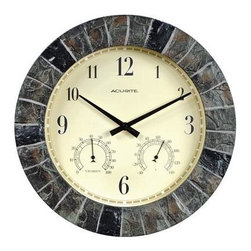 """Chaney Instruments - AcuRite 14"""" Outdoor Clock Combo - Chaney / AcuRite 14"""" Indoor or Outdoor Faux Slate Wall Clock features built-in temperature and humidity gauges that allow you to check comfort conditions at a glance. Durable stone replica construction resists the elements and makes this clock combination perfect for any room patio or garden."""