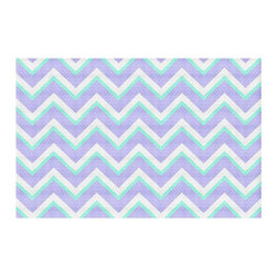 DiaNoche Designs - Area Rug by Monika Strigel - Purple Mint Layer I - Finish off your bedroom or living space with a woven Area Rug with Chevron pattern  from DiaNoche Designs. The last true accent in your home decor that really ties the room together. Maybe its a subtle rug for your entry way, or a conversation piece in your living area, your floor art will continue to dazzle for many years. 1/4 thick. Each rug is machine loomed, washed and pre-shrunk, printed, then hemmed on the edges.   Spot treat with warm water or professionally clean. Dye Sublimation printing adheres the ink to the material for long life and durability